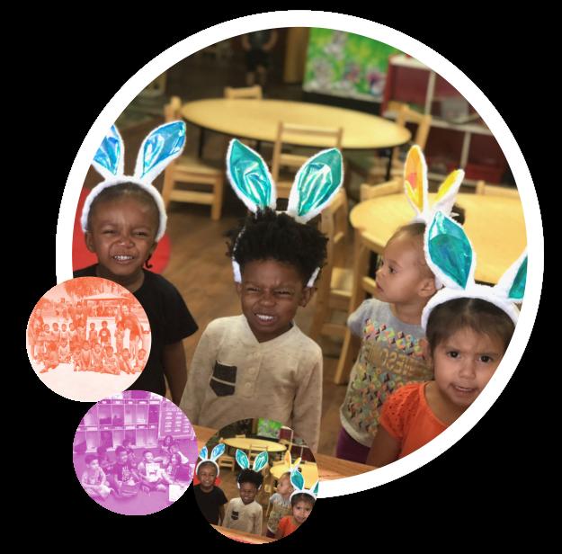 kids wearing bunny ears headbands