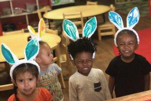 children wearing bunny ears